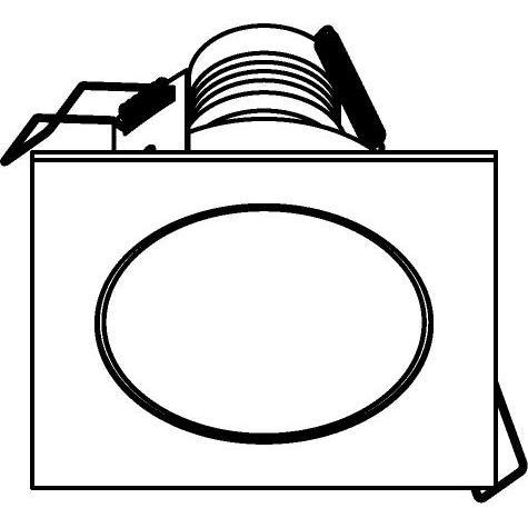 Drawing of 3172/.. - FLUX INOX 316 Ø92, inbouwspot - vierkant - vast - met helder glas - zonder transfo