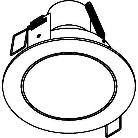 Drawing of 3173/.. - FLUX INOX 316 Ø92, inbouwspot - rond - vast - met helder glas