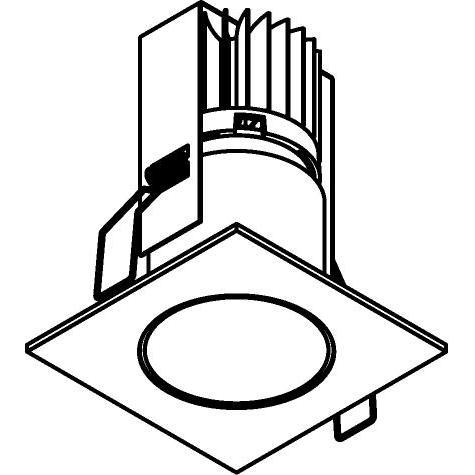 Drawing of 3374/.. - FLUX INOX 316 Ø72, inbouwspot - vierkant - vast - down - met helder glas - met LED driver