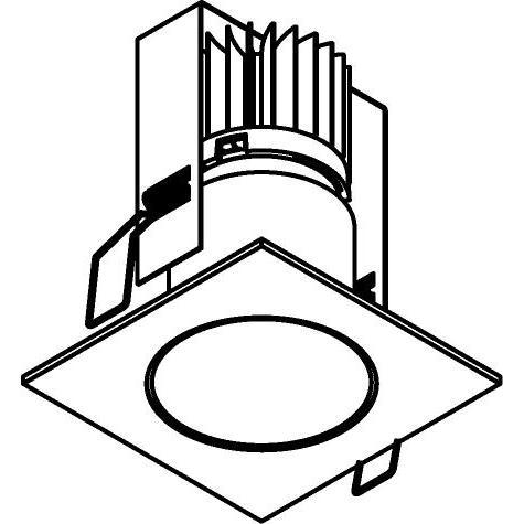 Drawing of 3375/.. - FLUX INOX 316 Ø82, inbouwspot - vierkant - vast - down - met helder glas - met LED driver