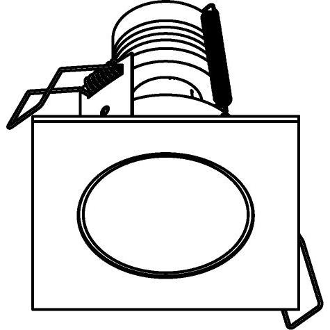 Drawing of 3162/.. - FLUX INOX 316 Ø72, inbouwspot - vierkant - vast - met helder glas - zonder transfo