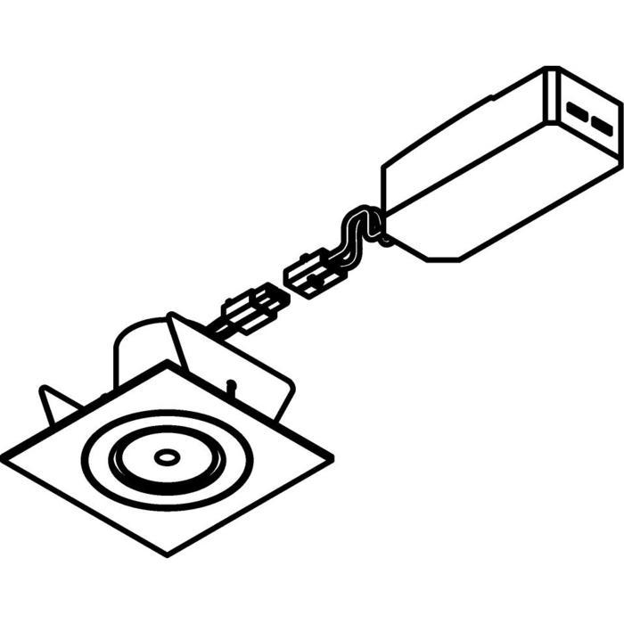 Drawing of 555.10012/.. - NOVA LED + DRIVER, inbouwspot - vierkant - vast - down - dimbaar - kit (driver + led + spot) - met LED driver