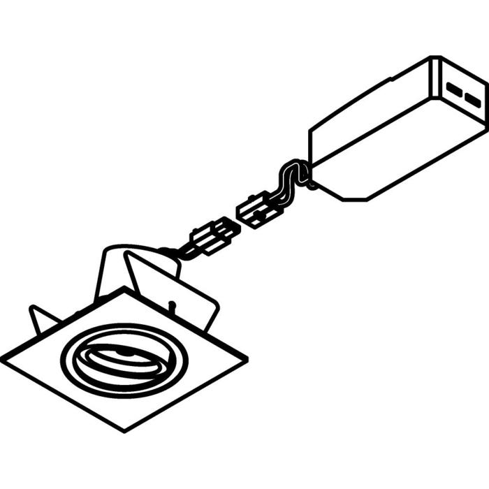 Drawing of 555.10013/.. - NOVA LED + DRIVER, inbouwspot - vierkant - richtbaar - down - dimbaar - kit (driver + led + spot) - met LED driver