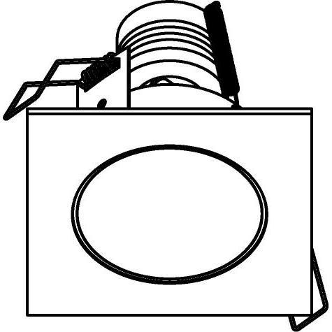 Drawing of 3167/.. - FLUX INOX 316 Ø82, inbouwspot - vierkant - vast - met helder glas - zonder transfo