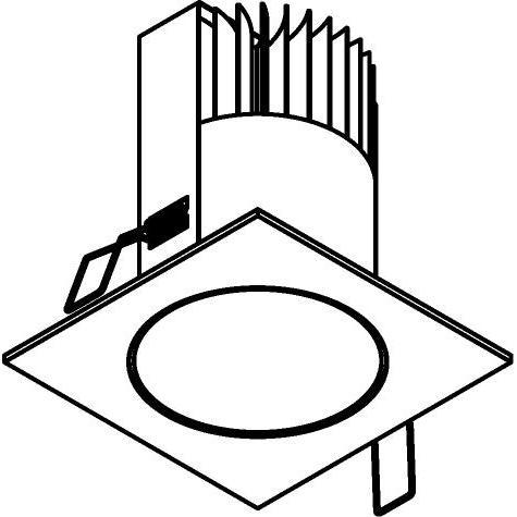 Drawing of 3376/.. - FLUX INOX 316 Ø92, inbouwspot - vierkant - vast - down - met helder glas - met LED driver