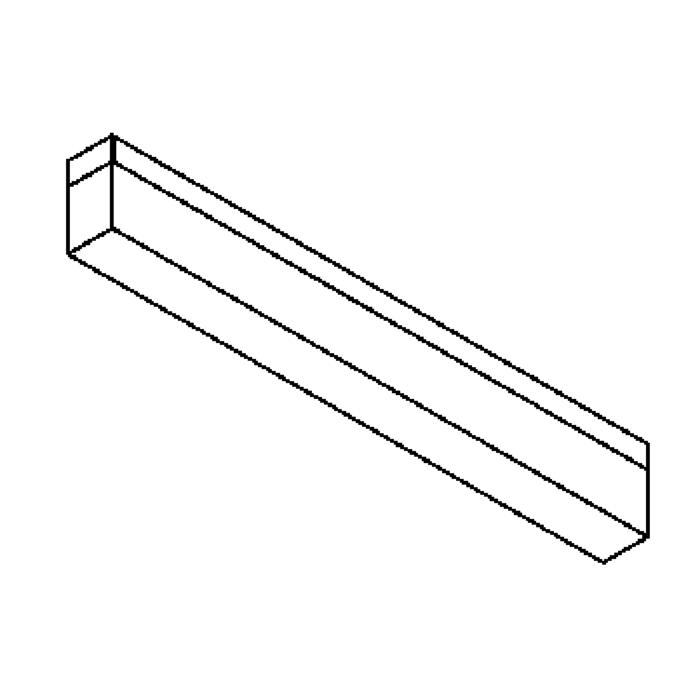 Drawing of 641.SL600.LED/.. - MONET STRIP, opbouw plafond -of wandlicht - inox behuizing + polycarbonaat deksel