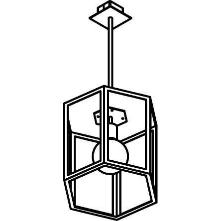Drawing of W747.B3/.. - POLO, hanglamp met bolgewricht en opbouwdoos