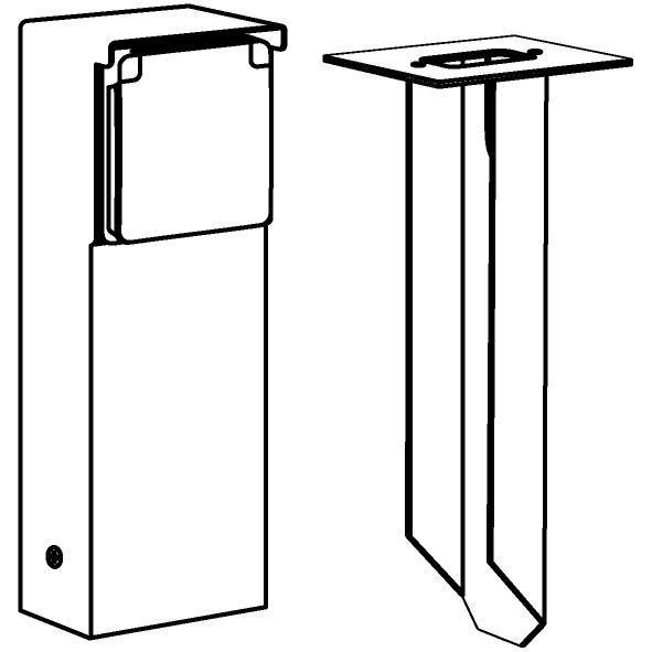 Drawing of T351SP/.. - NIKE, Connecterende zuil - met 1 zwart stopcontact NIKO
