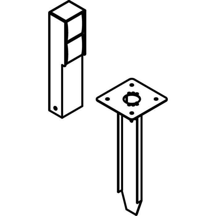 Drawing of T352SP/.. - NIKE, Connecterende zuil - met 2 zwarte stopcontacten NIKO