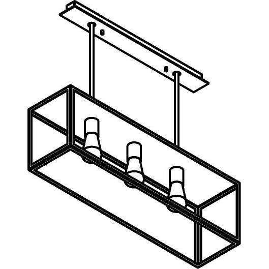 Drawing of 5100.3.XLC/.. - TAVOLO B200 L800, hanglamp met bolgewricht - stang inkortbaar - met bovenplaat gesloten