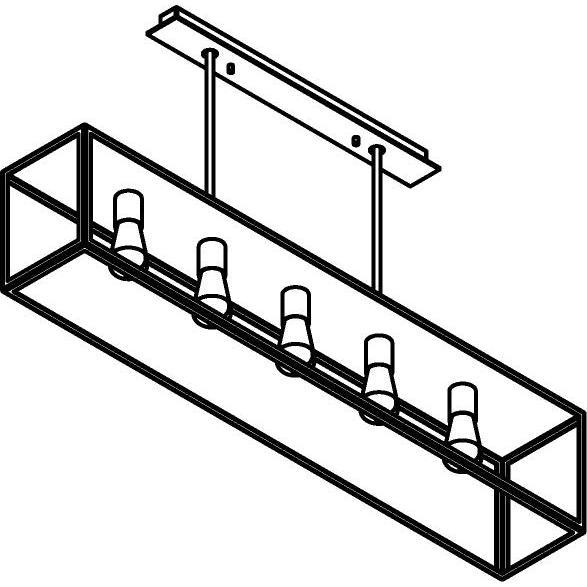Drawing of 5100.5.XLC/.. - TAVOLO B200 L1200, hanglamp met bolgewricht - stang inkortbaar - met bovenplaat gesloten