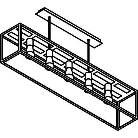 Drawing of 5101.5.XLO/.. - TAVOLO B200 L 1200, hanglamp met bolgewricht - stang inkortbaar - met bovenplaat open