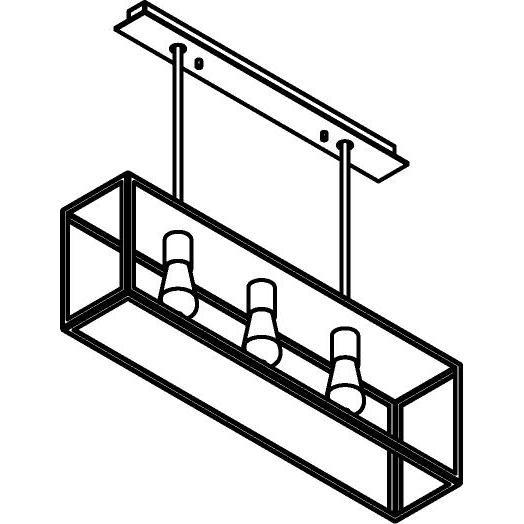 Drawing of 5103.3.SC/.. - TAVOLO B160 L800, hanglamp met bolgewricht - stang inkortbaar - met bovenplaat gesloten