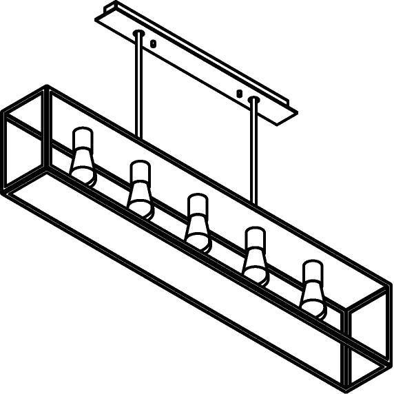 Drawing of 5103.5.SC/.. - TAVOLO B160 L1200, hanglamp met bolgewricht - stang inkortbaar - met bovenplaat gesloten