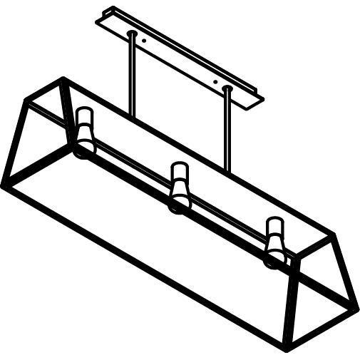 Drawing of 5105.3/.. - TAVOLO L1200, hanglamp met bolgewricht - stang inkortbaar - met bovenplaat gesloten