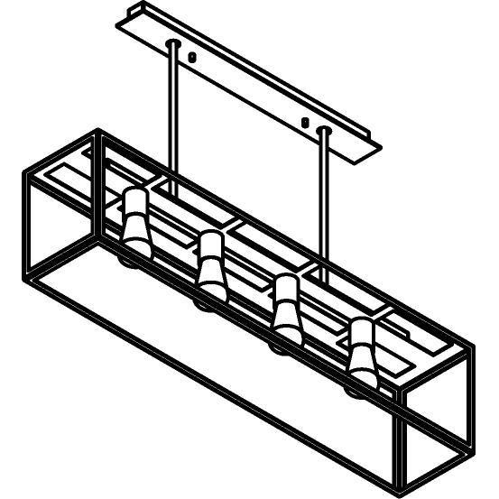 Drawing of 5101.4.XLO/.. - TAVOLO B200 L1000, hanglamp met bolgewricht - met bovenplaat open