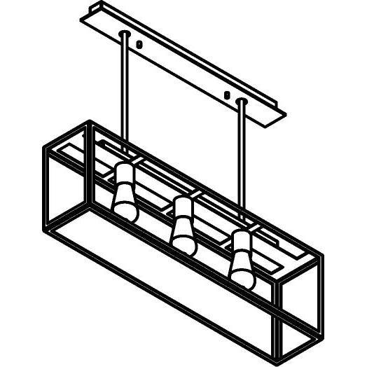 Drawing of 5104.3.SO/.. - TAVOLO B160 L800, hanglamp met bolgewricht - stang inkortbaar - met bovenplaat open