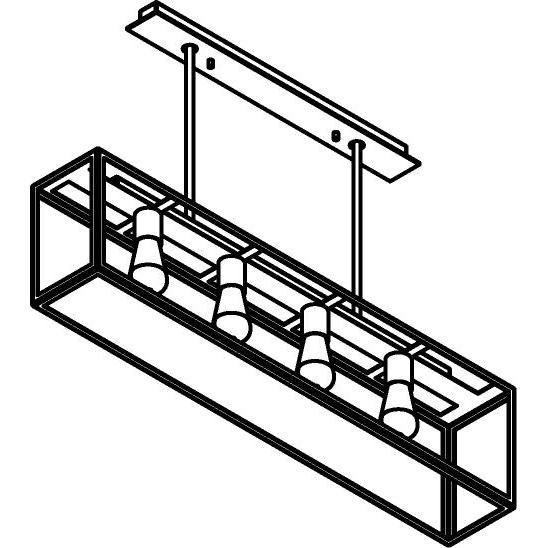 Drawing of 5104.4.SO/.. - TAVOLO B160 L1000, hanglamp met bolgewricht - stang inkortbaar - met bovenplaat open