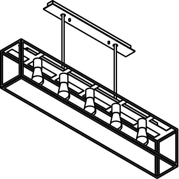 Drawing of 5104.5.SO/.. - TAVOLO B160 L1200, hanglamp met bolgewricht - stang inkortbaar - met bovenplaat open