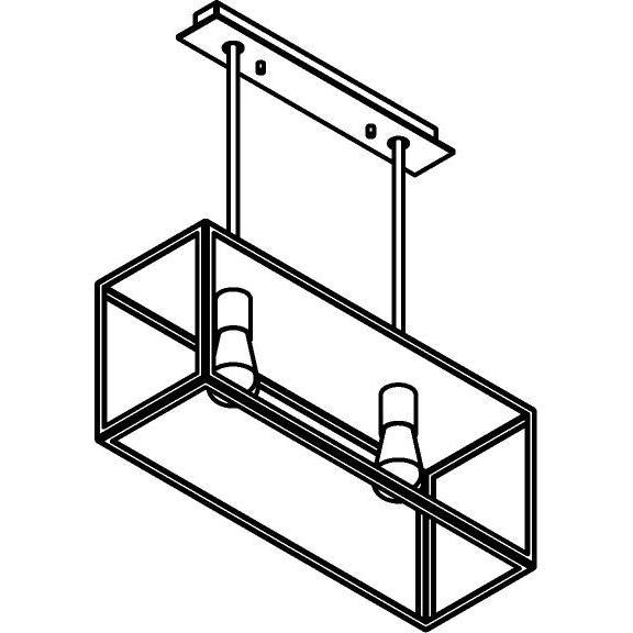 Drawing of 5100.2.XLC/.. - TAVOLO B200 L600, hanglamp met bolgewricht - stang inkortbaar - met bovenplaat gesloten