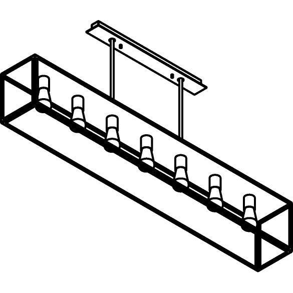 Drawing of 5100.7.XLC/.. - TAVOLO B200 L1500, hanglamp met bolgewricht - stang inkortbaar - met bovenplaat gesloten