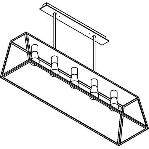 Drawing of 5105.5/.. - TAVOLO L1200, hanglamp met bolgewricht - stang inkortbaar - met bovenplaat gesloten