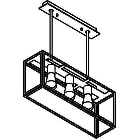 Drawing of 5104.3X.SO/.. - TAVOLO B160 L600, hanglamp met bolgewricht - stang inkortbaar - met bovenplaat open