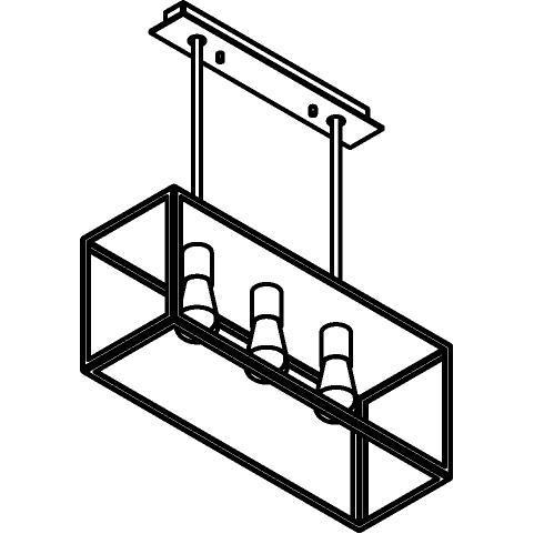 Drawing of 5100.3X.XLC/.. - TAVOLO B200 L600, hanglamp met bolgewricht - stang inkortbaar - met bovenplaat gesloten