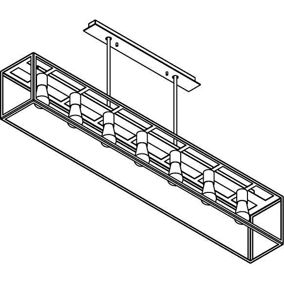 Drawing of 5101.7.XLO/.. - TAVOLO B200 L1500, hanglamp met bolgewricht - met bovenplaat open