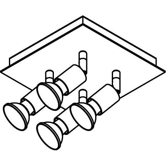 Drawing of 4515/.. - CAPUCINE, opbouw plafondverlichting - richtbaar - met basis Texo