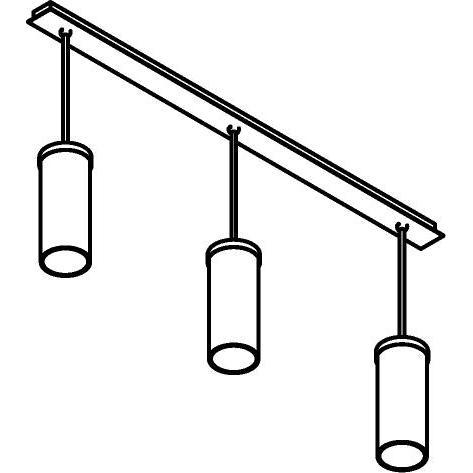 Drawing of 5070/.. - POLINA PENDEL 3, hanglamp met bolgewricht - stang inkortbaar - glas H320