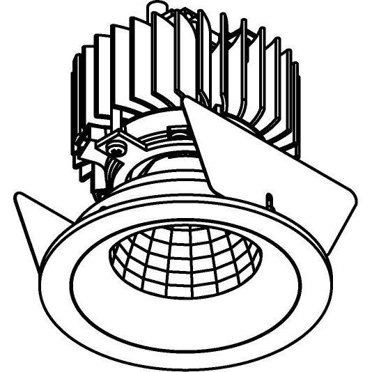 Drawing of 888.10014/.. - CITY, inbouwspot - rond - vast - dimbaar fase aan- en afsnijding - kit (led 230V + reflector + spot)