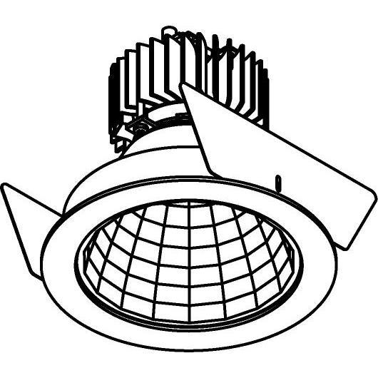 Drawing of 888.10021/.. - CITY, inbouwspot - rond - vast - dimbaar fase aan- en afsnijding - kit (led 230V + reflector + spot)