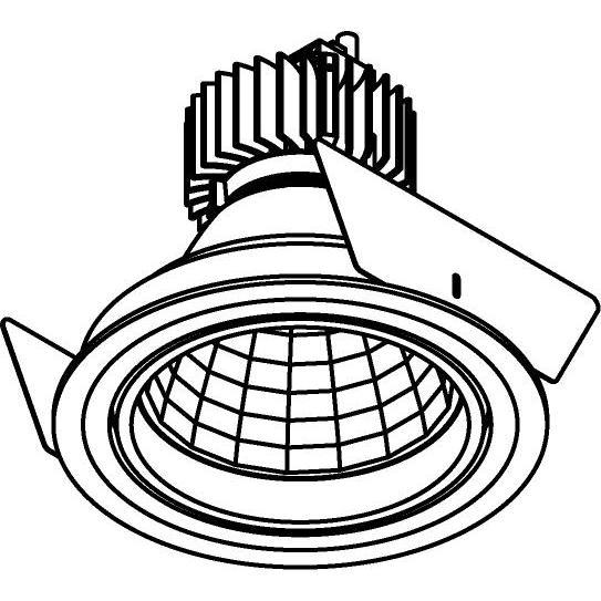 Drawing of 888.10022/.. - CITY, inbouwspot - rond - richtbaar - dimbaar fase aan- en afsnijding - kit (led 230V + reflector + spot)