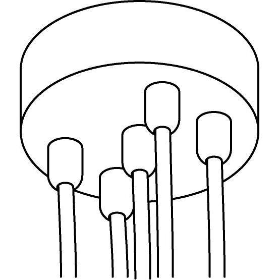 Drawing of 059.5/.. - ROSETTE for textile cable, opbouwrozet - verbindingsdoos met trekontlastingen voor 5 textielkabels