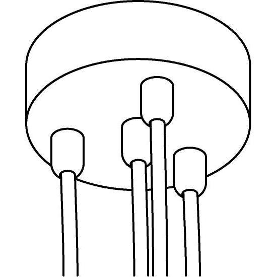 Drawing of 059.4/.. - ROSETTE for textile cable, opbouwrozet - verbindingsdoos met trekontlastingen voor 4 textielkabels