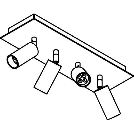 Drawing of 4524/.. - JACOBINE, opbouw plafondverlichting - richtbaar - met basis Texo - met LED driver