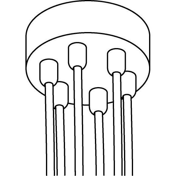 Drawing of 059.6/.. - ROSETTE for textile cable, rosace apparent - boîtier de connection avec arrêt de câble pour 6 câbles textile