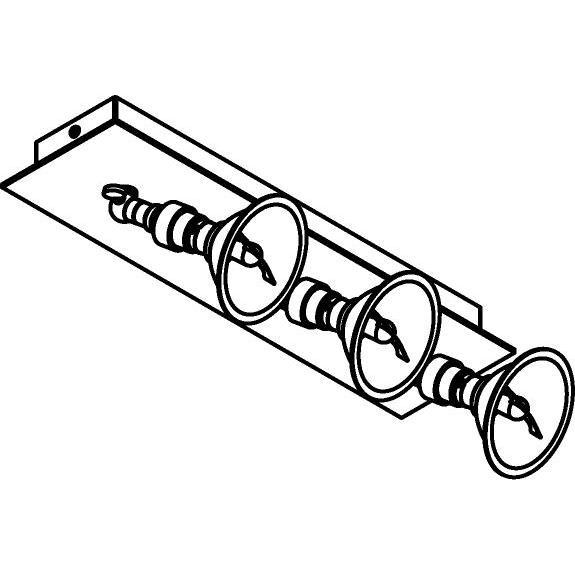 Drawing of 5046/.. - PULA, opbouw plafondverlichting - richtbaar - met 3x spot AR70 op kniegewricht - zonder transfo