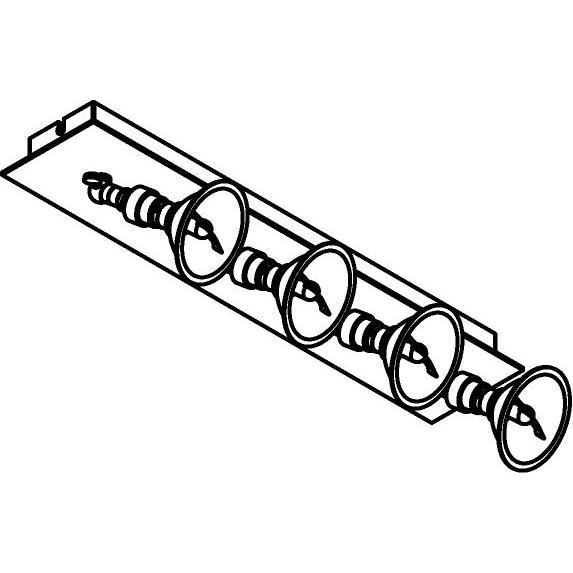 Drawing of 5047/.. - PULA, opbouw plafondverlichting - richtbaar - met 4 x spot AR70 op kniegewricht - zonder transfo