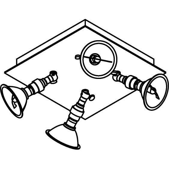 Drawing of 5048/.. - PULA, Aufbau Deckenleuchte - schwenkbar - mit 4 Strahler AR70 auf Kniegelenk - ohne Trafo