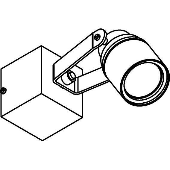 Drawing of W7061/.. - UFO MINI, opbouw plafond -of wandlicht - spot op vierkante basis 60x60