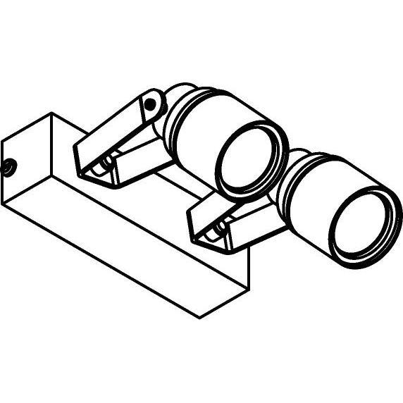 Drawing of W7062/.. - UFO MINI, opbouw plafond -of wandlicht - dubbele spot op balk