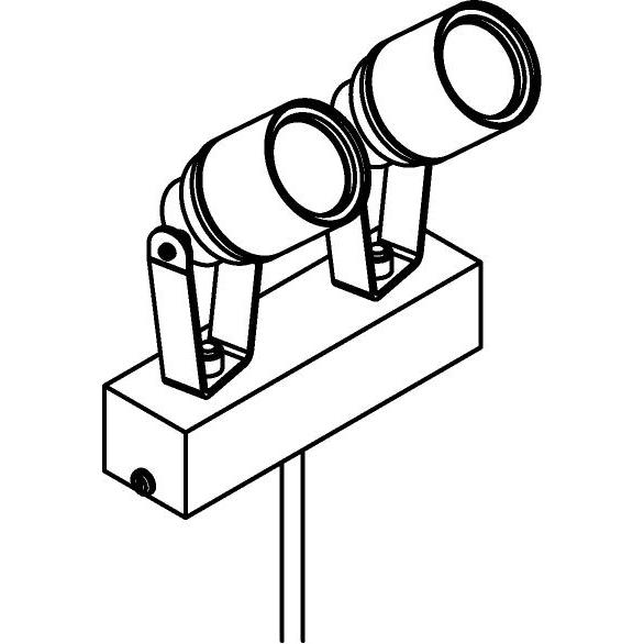 Drawing of T7052/.. - UFO MINI, tuinpaal met grondpin - richtbaar - met glas en verbindingsdoos