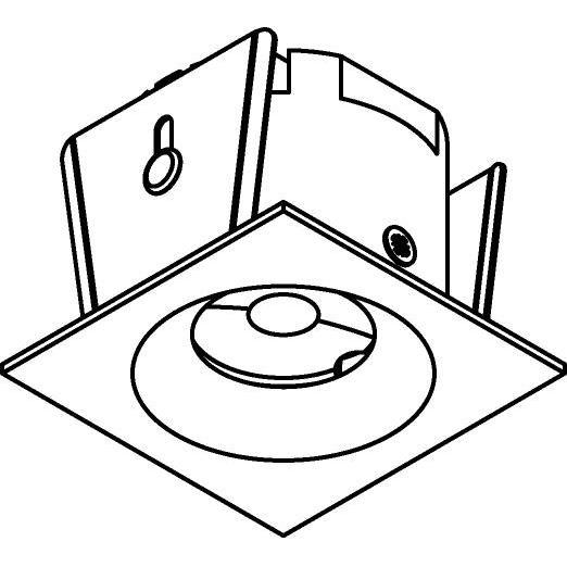 Drawing of ZIALEDFC230V.S2/.. - Ø45 ZIA LED 230V, inbouw plafond- en wandlicht - vierkant - met led