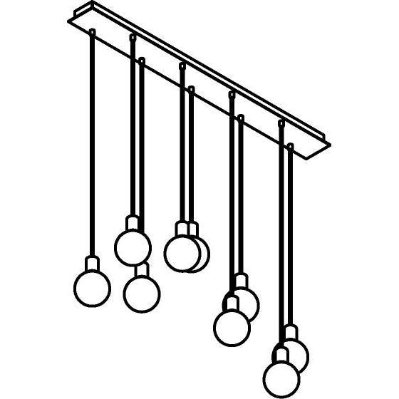 Drawing of 5067.9/.. - MAESTRO, hanglamp - balk 1200mm - met 9x kabel 1m