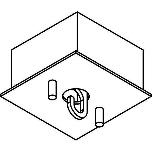 Drawing of 068/.. - ROSETTE HOOK, vierkant - verbindingsdoos met open lusterhaak