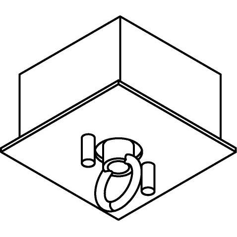 Drawing of 067/.. - ROSETTE HOOK, square - built-up rosette with closed hook for suspension