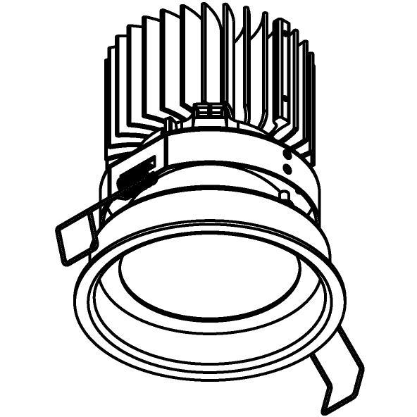 Drawing of 1574.S1/.. - CAMELEON XICATO LED, inbouwspot - rond - vast - down - met plexi - zonder LED driver