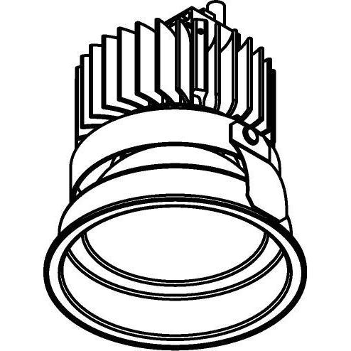 Drawing of 1574.S2/.. - CAMELEON XICATO LED, inbouwspot - rond - vast - down - met plexi - zonder LED driver